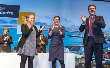 Áslaug Arna, Ólöf et Bjarni félicitent leurs électeurs - © mbl.is